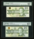 "Canadian Currency: , ""Radar"" Serial Numbered $20 Notes PMG Graded . ... (Total: 2 notes)"
