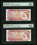 Canadian Currency: , BC-47aA $2 1974 Replacement Notes *BX Prefix Two ConsecutiveExamples . ... (Total: 2 notes)