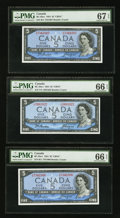 Canadian Currency: , BC-39a-i $5 1954 Three Examples PMG Graded. ... (Total: 3 notes)