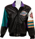 Basketball Collectibles:Uniforms, 1997-98 Utah Jazz Team Signed Leather Jacket....
