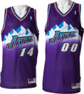 Basketball Collectibles:Uniforms, 1997-98 Jeff Hornacek and Greg Ostertag Game Issued, Signed UtahJazz Jerseys Lot of 2....