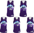 Basketball Collectibles:Uniforms, . 1997-98 Utah Jazz Stars Signed Game Issued Jerseys Lot of 5....