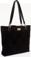 Luxury Accessories:Bags, Chanel Black Diamond Quilted Suede Tote Bag with Gold Hardware. ...