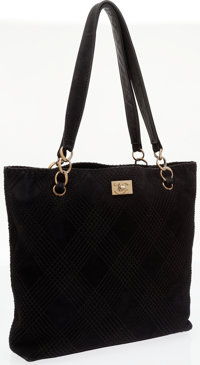 Chanel Black Diamond Quilted Suede Tote Bag with Gold Hardware