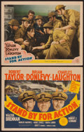 """Movie Posters:War, Stand By for Action (MGM, 1943). Title Lobby Card and Lobby Card(11"""" X 14""""). War.. ... (Total: 2 Items)"""