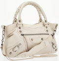 Luxury Accessories:Bags, Balenciaga White Antiqued Leather Small First City Bag with Shoulder Strap. ...