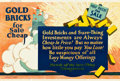 """Movie Posters:Miscellaneous, Gold Bricks for Sale Cheap (Mather and Company, 1923). Motivational Poster (28"""" X 41.5"""").. ..."""
