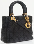 Luxury Accessories:Bags, Christian Dior Navy Blue Leather Cannage Lady Dior Tote Bag withShoulder Strap. ...