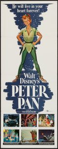 """Movie Posters:Animation, Peter Pan (Buena Vista, R-1958). Insert (14"""" X 36""""). Animation.. ..."""