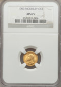 Commemorative Gold, 1903 G$1 Louisiana Purchase/McKinley MS65 NGC....