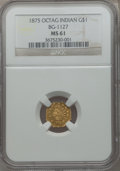 California Fractional Gold, 1875 $1 Indian Octagonal 1 Dollar, BG-1127, R.4, MS61 NGC....