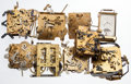 Timepieces:Other , Eight Clock Movements & One Bulova Clock For Parts Or Repair.... (Total: 9 Items)