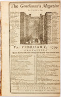 Books:Periodicals, [Sylvanus Urban]. Edward Cave, Editor. The Gentleman's Magazine,February, 1779. London: Printed for D. Henry, at St...