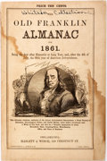 Books:Americana & American History, The Old Franklin Almanac Number Two, for 1861. Philadelphia:Haslett and Winch. Octavo. Engraved portrait of Benjamin Fr...