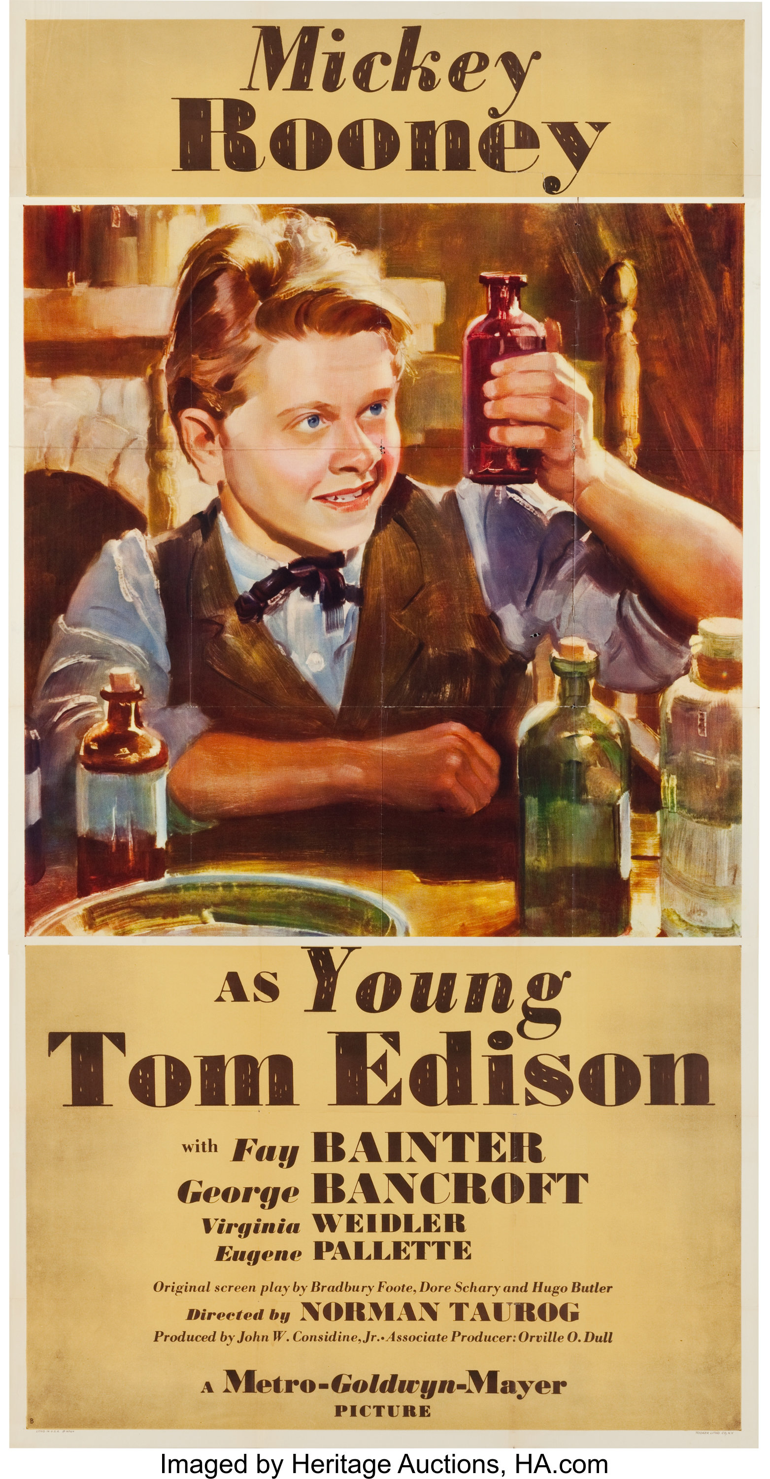 """Young Tom Edison (MGM, 1940). Three Sheet (41"""" X 80.75"""") Style B.. 
