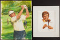 Golf Collectibles:Art, Circa 1970's Golf Legends Original Artwork by Victor Olson (5). ....