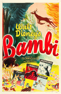 "Bambi (RKO, R-1948). One Sheet (27"" X 41""). Animation"
