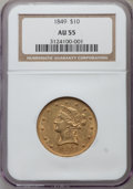 Liberty Eagles: , 1849 $10 AU55 NGC. NGC Census: (136/139). PCGS Population (30/49).Mintage: 653,618. Numismedia Wsl. Price for problem free...