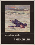 "Movie Posters:War, World War II Propaganda (U.S. Government Printing Office, 1943).OWI Poster No. 36 (22"" X 28"") ""A Careless Word...A Needless..."