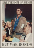 "Movie Posters:War, World War II Propaganda by Norman Rockwell (U.S. GovernmentPrinting Office, 1943). OWI Poster No. 44 (20"" X 25"") ""Save Free..."