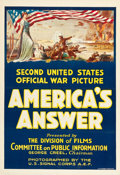 "Movie Posters:War, America's Answer (U. S. Army, 1918). One Sheet (27"" X 41"").. ..."