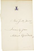"Autographs:Artists, Albert Bierstadt: Dated Signature on Letterhead ""AlbertBierstadt"". One page, 4.5"" x 7"", January 26, 1876, unknownlette... (Total: 1 Item)"