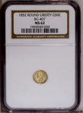 California Fractional Gold: , 1852 50C Liberty Round 50 Cents, BG-407, R.4, MS62 NGC. PCGSPopulation (26/13). (#10443)...
