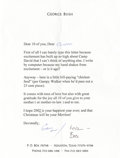 """Autographs:U.S. Presidents, George Bush and Barbara Bush Typed Letter Signed """"George""""and """"Love/Bar,"""" one page, 6.25"""" x 8.5"""". Houston, Texas,c...."""