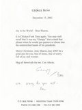 "Autographs:U.S. Presidents, George Bush and Barbara Bush Typed Letter Signed ""Gampy"" and""Bar"" who's added ""we pray for you all-/Bar,"" onep..."