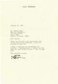 """Autographs:Celebrities, Paul Newman Political Typed Letter Signed """"Newman,"""" onepage, 7.25"""" x 10.5"""". No place, January 29, 1992. To Ms. Sharon B..."""