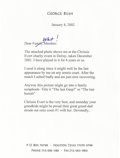 """Autographs:U.S. Presidents, George Bush Typed Letter, one page, 6.25"""" x 8.5"""". Houston, Texas,January 8, 2002. Not signed. To his son, Neil, addressed. ..."""
