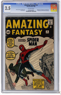Amazing Fantasy #15 (Marvel, 1962) CGC GD+ 2.5 Off-white pages. The unforgettable origin and first appearance of Spider-...