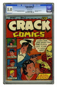 Crack Comics #1 (Quality, 1941) CGC VG/FN 5.0 Off-white pages. This debut issue features the origin and first appearance...