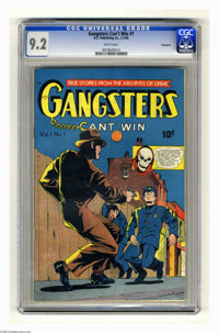 Gangsters Can't Win #1 Vancouver pedigree (D.S. Publishing, 1948) CGC NM- 9.2 White pages. True crime stories. Overstree...