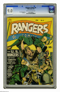Golden Age (1938-1955):War, Rangers Comics #9 (Fiction House, 1943) CGC VF/NM 9.0 Cream tooff-white pages. Dan Zolnerowich cover. Al Walker art. Overst...