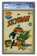 Golden Age (1938-1955):Superhero, Skyman #1 Rockford pedigree (Columbia, 1941) CGC FN/VF 7.0 Cream to off-white pages. Ogden Whitney provides cover art to thi...