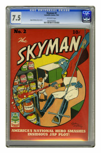 Skyman #2 (Columbia, 1941) CGC VF- 7.5 Off-white pages. Ogden Whitney cover and art. Overstreet 2006 VF 8.0 value = $375...