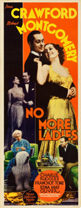 """Movie Posters:Comedy, No More Ladies (MGM, 1935). Insert (14"""" X 36"""").. ..."""