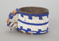American Indian Art:Beadwork and Quillwork, A SIOUX BEADED METAL CUP. c. 1900...