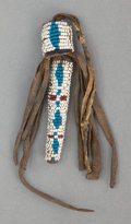 American Indian Art:Beadwork and Quillwork, A UTE BEADED HIDE NEEDLE CASE. c. 1880...