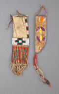 American Indian Art:Beadwork and Quillwork, TWO SIOUX TOY HIDE ITEMS. c. 1890... (Total: 2 )