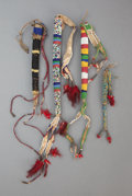 American Indian Art:Beadwork and Quillwork, FOUR SIOUX BEADED HIDE AWL CASES. c. 1890 and 1900... (Total: 4 )