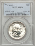 Commemorative Silver: , 1927 50C Vermont MS64 PCGS. PCGS Population (1521/1289). NGCCensus: (1294/986). Mintage: 28,142. Numismedia Wsl. Price for...