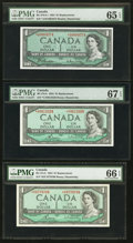 Canadian Currency: , $1 1954 Replacement Notes PMG Graded. ... (Total: 3 notes)