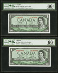 Canadian Currency: , BC-29a $1 1954 Devil's Face G/A Prefix Two Consecutive Examples.... (Total: 2 notes)