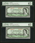Canadian Currency: , BC-29a $1 1954 Devil's Face E/A Prefix Two Consecutive Examples .... (Total: 2 notes)