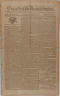 Miscellaneous:Newspaper, [Newspaper]. Gazette of the United States. Four Issues,January-March, 1791. Each issue contains four integral p...