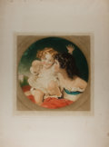 Books:Prints & Leaves, Original Mezzotint Portrait of Two Young Girls. London: AlfredBell, 1927. Measures 20 x 27 inches. Some wrinkling and thumb...