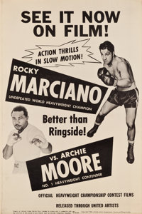 """Rocky Marciano vs. Archie Moore (United Artists, 1955). Poster (40"""" X 60"""")"""