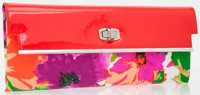 Balenciaga Red Patent Leather & Floral Silk Fold-over Clutch Bag